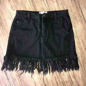 Boohoo Black Fray Jean Skirt